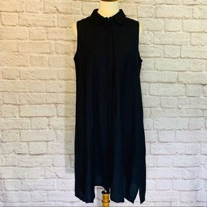 Joan Vass NY Black trapeze shirt dress size 10